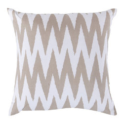 Twin Peaks Throw Pillow - Made by hand from 100% cotton with a feather/down insert, the Twin Peaks Throw Pillow adds natural comfort to any room. Its geometric design and neutral colors make any room feel rich and stylish all year.