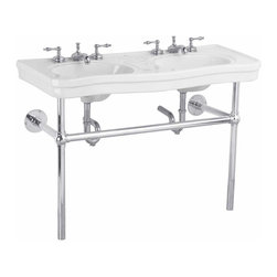 """Renovators Supply - White China Double Bistro Sink Chrome Frame 8"""" - Double Sinks: Belle Epoque double deluxe."""