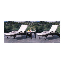 Hospitality Rattan - Soho Patio 3 Pc. Chaise Lounge Set in Rehau J - Constructed of an Aluminum frame wrapped in woven Rehau fiber. Outdoor Wicker end table. Weather and UV resistant. Includes frosted Tempered Glass. Stackable Design. Sturdy Aluminum legs for extra support. End Table: 19 in. W x 19 in. D x 20 in. H (12 lbs.). Chaise Lounge: 29 in. W x 82 in. D x 22 in. H (50 lbs.)The Soho Collection is a sleek contemporary collection that offers a unique see-through modular sectional that allows endless possibilities ranging from a sofa, loveseat, armless chair setup, to a standard sectional. The Soho Collection offers a fully anodized Aluminum frame, which is then woven with Rehau Java Brown fiber. Its unique look and multi-colored textured surface make it one of the most attractive collections for outdoor use. The Soho Collection only requires cushions for the seating pieces. The balance of the collection can be used without cushions. In addition, Glass is optional as the table tops are fully woven and offer reinforced Plexiglass undersides for enhanced sturdiness.  The large round dining table accommodates an umbrella. The Soho armchair and chaise lounges are all stackable items. The cushions used on the Soho collection are available with synthetic outdoor fabrics including Sunbrella. Most importantly the quality of the Soho collection makes it ideal for contract settings. This is for a 3 Pc. chaise lounge set, with 2 chaises and an end table.
