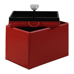 Convenience Concepts - Accent Storage Ottoman in Red - Reversible tops. Providing additional storage. Removable lid provides easy access and serves as a tray. Ideal for home office or student. Limited warranty. Made from PVC. No assembly required. 23 in. L x 15.7 in. W x 15.7 in. H (14 lbs.)You'll be sure to enjoy it for years to come.