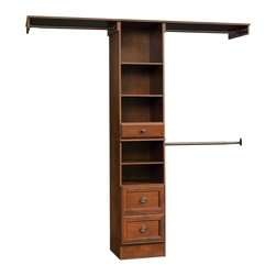 Sauder - Lancaster Closet Kit in Coach Cherry Finish - Not California Air Resources Board (CARB) compliant. Fits closets 3.5 to 9 ft. wide. 3 Adjustable rods extend 27 to 48 in.. 3 Drawers with full extension slides. 4 Adjustable shelves and levelers. Two 48 in. top shelves. Made of engineered wood. Assembly required. 70.5 in. W x 14.5 in. D x 83 in. H