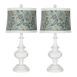 Safavieh - Ella Urn Lamp ZMT-LIT4059A (Set of 2) - The Ella Urn Lamp in glossy white hue brings a fresh, stylish look to any traditional room in need of an update. Topped with white finial and white-trimmed blue paisley shade, it transforms a neutral interior into a stylish oasis. (Sold in set of 2).