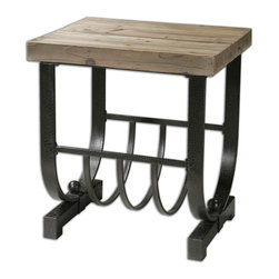 Uttermost - Bijan Planked Fir Top Accent Table - Accent this table with your favorite collection of knickknacks, or place it in the guest bathroom and set it up with body care products and rolled towels stored beneath. The natural finish of the wood top blends easily with any color scheme, while the black iron base provides sturdy support.