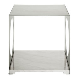 LexMod - Surpass Modern Side Table in White - Sometimes the greatest elements, come from the absence of elements. Surpass allows the luminosity of your room to shine in remarkable fashion. The hollowed out stainless steel walls, coupled with two open ends, create a natural interplay between shades of light and gray. The white marble top completes this piece suitable for anyone interested in exploring radiance at its root.