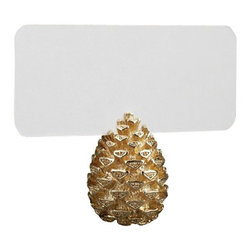 """L'Objet - L'Objet Pine Cone Place Card Holders Gold - Modern in style yet traditional in essence, L'Objet Place Card Holders are an elegant addition to the table. Layered in 24K gold or platinum, the collection is rich in details, including hand-set Swarovski crystals and semi-precious gemstones. Gold Plating, Set of 6.Measures: 1"""" x 1.5"""" Includes: Place Cards (Set of 25); Refill Available. Luxuriously Gift Boxed"""