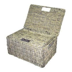None - Woven Grass Grey Rectangular Lidded Storage Baskets (Set of 2) - Woven grass storage baskets are ideal for organizing any home or office space Handcrafted Each set includes a large and small basket that nest inside each other