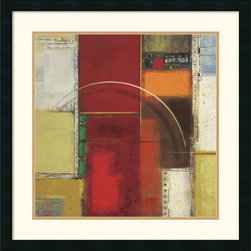 Amanti Art - Rosetta One Framed Print by Elya DeChino - Bold bands of color contrast with geometric shapes and lines in this contemporary Abstract Art print by Elya DeChino. Thoughtful and contemplative, this fine artwork will lend any room an avant-garde air.