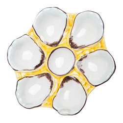 Abigails - Oyster Plate, Canary Yellow - Oyster plates are traditional favorites in New Orleans best restaurants.  Ours are perfect for serving raw oysters or any seafood creation.