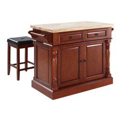 Crosley Furniture - Butcher Block Top Kitchen Island with Square - Includes two stools. Fully functional doors and drawers on both sides. Butcher block top. Two towel bars. Antique brass finish hardware. Carved column accents. Two adjustable shelves behind doors. Stool with upholstered seat. Warranty: 90 days. Made from solid hardwood and wood veneers. Cherry finish. Made in Vietnam. Stool height: 24 in.. Overall: 48.25 in. W x 23 in. D x 36 in. H (155 lbs.). Assembly instructions - Kitchen Island. Assembly instructions - StoolThis kitchen island is designed for longevity. The handsome raised panel doors and drawer fronts provide the ultimate in style to dress up any culinary space. Great for food preparation. Deep push-through drawers are great for holding essential items, such as utensils or storage containers. Style, function, and quality make this kitchen island a wise addition to your home.