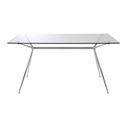 "Euro Style - Euro Style Atos Dining Table 60"" Glass 02290A/02290G - A completely modern take on 'sawhorse' basics, Atos combines a delicate appearance with a solid base made of chromed steel. The tempered glass top is available in widths of 5 or 5.5 feet depending on how much work you have to do."