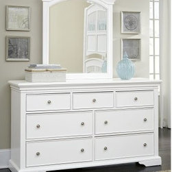 Walnut Street 7 Drawer Dresser - White - The Street 7 Drawer Dresser – White is a handsome piece that perfectly transitions from kid-friendly decors to more mature designs for tweens and teens. This handsome dresser features a solid poplar hardwood frame accented with select veneers and a brilliant white finish. Seven spacious pull-out drawers are built into the frame each with brushed-nickel finished solid iron drawer pulls; the bottom of the piece is dust-proofed while the top drawers are felt-lined. A matching optional mirror is included (Dimensions: 34W x 2D x 38H inches). About New Energy Kids NE Kids is a company with a mission: to create and import truly unique furniture for your child. For over thirty years they've been accomplishing this mission with flying colors one room at a time. Not only will these products look fabulous they will provide perfect safety for your children by adhering to the highest standards set by the American Society for Testing and Material and the Consumer Products Safety Commission. Your kids are in the best of hands and everyone will appreciate these high-quality one-of-a-kind pieces for years to come.
