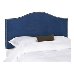 Safavieh - Safavieh Connie Blue Full/ Queen Headboard - Enjoy a touch of plush luxury with this blue queen-size headboard. Covered in plush polyester upholstery, this camelback headboard will add a regal touch to your boudoir. This headboard is outlined with nailhead details for eye-catching appeal.