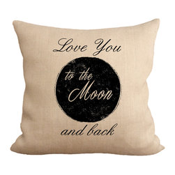 """Fiber and Water - Love You To The Moon Pillow - A beautiful depiction of the saying, """"Love you to the moon and back."""" Hand-pressed onto natural burlap using water-based inks."""