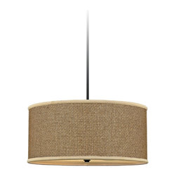 "Quoizel - Asian Quoizel Zen Collection Rattan and Black Pendant Light - This beautiful tan rattan pendant light is an ideal choice for many home decor styles. Its transitional look and deep Mystic Black finish hardware and rod will fit right in. The tightly woven drum shade is surrounded with coordinating trim to create a soothing and versatile monochromatic palette that houses four bulbs. A gracious addition to your stylish home from Quoizel. Tan rattan drum shade pendant light. Mystic black finish hardware rod and canopy. Four maximum 100 watt bulbs (not included). 22"" wide. 50"" high. Hang weight is 11 lbs.  Mystic black finish hardware rod and canopy.  Tan rattan drum shade.  From the Quozel brand.  Four maximum 100 watt bulbs (not included).   50"" high.  22"" wide.  Hang weight is 11 lbs."
