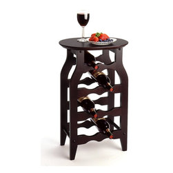"Winsome Wood - Winsome Wood 8-Bottle Wine Rack with Dark Espresso Finish X-52829 - This solid wood wine rack is perfect for use in any room. Espresso finish combine with solid wood to bring function and style together in this small wine rack. Oval Table Top gives style and function.  Overall assembled size is 16""W x 12.50""D x 24.80""H.  Holds 8 bottles.  Assembly Required"