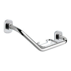 Gedy - Polished Chrome Shower Grab Bar With Soap Holder - Contemporary style round bathroom grab rail with soap holder.