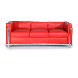"Kardiel Le Corbusier Style LC2 Sofa 3 Seat, Red Aniline Leather - The Le Corbusier sofa set series was originally designed in 1928 for the Maison La Roche house in Paris. The design is the modernist response to the traditional club chair. The LC2 Petit (or Petite) series is the smaller of two versions Le corbusier created. Even in 1928, apartment living in Paris required a well thought out compact furniture design. Le Corbusier recognized this and designed for the need. A noticeable feature of the LC2 is the separate appearance of the additional top seat cushion. Remarkably comfortable and compact, Le Corbusier often referred to the pieces as ""cushion baskets"". A striking feature of the LC2 is the externalized metal frame supporting the base, extending as the legs and running the entire length of the piece. Its not just the front of the LC2 that is attractive, the metal frame work means design detail from the sides and back allowing for easy placement even in the middle of a room. When designing in small spaces, the ability to place items in the middle of the room is no small features. The design is available in a 1, 2 and 3 seat version that share the same overall dimensions with the exception of the length. The Le Corbusier LC2 set is often used in a group of 2 chairs (1 seat version) and a single sofa or love (2 or 3 seat versions)."