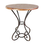 """Mathews & Company - Alexander 36"""" Counter Table with 30"""" Round Top - No matter where you place this table in your home, its simple elegance is sure to be a focal point of attention. The slender lines, styled curves and beautiful table top . You can see the artisan's time and care in every inch of the hand-crafted iron work. Choose from a variety of iron finishes to perfectly complement any decor. Combined with some coordinating Alexander Counter Stools, you will create an inviting gathering point for dining and conversation. Pictured in Copper top and Black finish."""