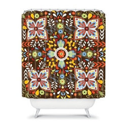 DENY Designs Khristian A Howell Wanderlust Shower Curtain - Throw out that boring old curtain, the DENY Designs Khristian A Howell Wanderlust Shower Curtain is sure to inject life into your bathroom. This woven polyester curtain has a designer print with stunning colors to dazzle the eye. About DENY DesignsDenver, Colorado based DENY Designs is a modern home furnishings company that believes in doing things differently. DENY encourages customers to make a personal statement with personal images or by selecting from the extensive gallery. The coolest part is that each purchase gives the super talented artists part of the proceeds. That allows DENY to support art communities all over the world while also spreading the creative love! Each DENY piece is custom created as it's ordered, instead of being held in a warehouse. A dye printing process is used to ensure colorfastness and durability that make these true heirloom pieces. From custom furniture pieces to textiles, everything made is unique and distinctively DENY.
