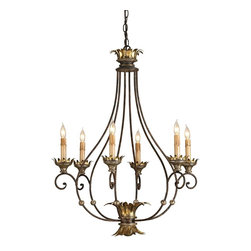 Currey & Company - Romanza Chandelier - A delightful open airy form characterizes this simply elegant chandelier. The curved leaves of the candle cups are mirrored in embellishments at the top and at the bottom of the piece. Use of the three finishes of Distressed Silver Leaf, Golf Leaf and Rust add even more richness and depth to its appearance
