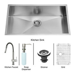 Vigo Industries - 30 in. Stainless Steel Sink and Faucet Set - Includes kitchen sink, faucet, soap dispenser, matching bottom grid, sink strainer, all mounting hardware and hot-cold waterlines.