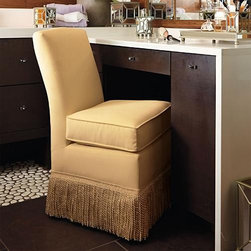 "Frontgate - Marisa Fringed Vanity Chair - Frontgate - Solidly constructed with sturdy hardwood frame. Semi-attached seat cushion. Covered in smooth, stain-resistant polyester/cotton velvet. Fully skirted with 6"" bullion fringe. Easy-rolling casters. Feel glamorous as you prepare for the day seated in our Marisa Vanity Chair. Marisa offers plush comfort and expert construction, including soft velvet upholstery that is Teflon treated to resist water and stains for long-lasting beauty. . . . . . 225-lb. weight capacity. Imported."