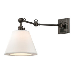 Hudson Valley Lighting - Hudson Valley Lighting Hillsdale Modern / Contemporary Swing Arm Wall Sconce X-B - Versatile and attractive, Hillsdale combines the ingenuity of early-twentieth century task lighting with a smart decorative touch from the twenty-first. Vintage cast swivels give the sconces wide-range adjustability, while custom contemporary linen shades swath your space in soft ambient light.