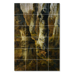 Picture-Tiles, LLC - Deer In A Wood Tile Mural By Eugene Verboeckhoven - * MURAL SIZE: 48x32 inch tile mural using (24) 8x8 ceramic tiles-satin finish.