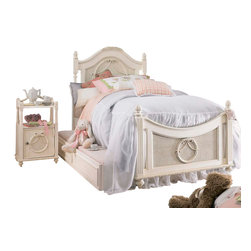 Lea Industries - Lea Emma's Treasures 3 Piece Poster Kids' Bedroom Set in Vintage White - Inviting, casual and comfortable easily describes Emma's Treasures from Lea Furniture. Traditional styling mixed with a cozy time-worn appearance creates a collection of youth furniture sure to please any age girl. The distressed vintage white color finish, antiqued pewter-color hardware, the use of cane and crystal-cut mirrors all help create the shabby chic appeal of this group. Special features include vintage patterned drawer liners and hidden compartments on select pieces. Unique pieces include a vanity with bench, a mirrored door chest and a desk that can double as a larger vanity. Take a look at Emma's Treasures and create a room your child will treasure for years to come. And, as always, Emma's Treasures comes with the quality you expect from Lea Furniture. Safety is one of the key elements parents look for when buying products for their children. As a supplier of children's furnishings, we are committed to ensuring our products meet or exceed the safety requirements defined by the Consumer Product Safety Commission and the ASTM. Design and function combined with safety features makes the Emma's Treasures collection an ideal choice for any child's room.