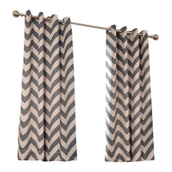 """Exclusive Fabrics & Furnishings - Fez Grey & Tan Grommet Blackout Curtain - SOLD PER PANEL . 100% Polyester .Finished With 8 Nickel Finish Grommets (1-1/2"""" Opening) . Pattern Color(s)-Grey & Ecru .Weighted Hem 