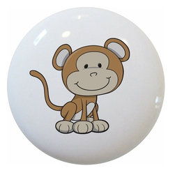 Carolina Hardware and Decor, LLC - Baby Monkey Big Head Ceramic Cabinet Drawer Knob - New 1 1/2 inch ceramic cabinet, drawer, or furniture knob with mounting hardware included. Also works great in a bathroom or on bi-fold closet doors (may require longer screws). Item can be wiped clean with a soft damp cloth. Great addition and nice finishing touch to any room!