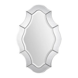 Ren-Wil - Leonardo Oval Mirror - The Leonardo Mirror features a rhombic beveled mirror with an all glass wave frame.