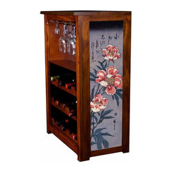 "Kelsey's Collection, Inc. - Hiroshige Wine Cabinet Peonies - Pine Wine Cabinet  stores wine and glassware with famous artwork by Ukiyoye artist Aldo Hiroshige giclee-printed on canvas side panels. The art is giclee printed on canvas with three coats of UV inhibitor to protect against the sunlight and thereby extend the longevity of the art. The canvas is then glued onto panels and inserted into the frames. Kelsey's Wine Cabinet showcases and stores wine and glassware with solid radiata pine construction. Famous artwork is giclee-printed on canvas side panels which provide a unique decorating touch of art that enhances the product and reflects your home-decor style.  The frame, top, and racks are solid New Zealand radiata pine with a hand stained and hand rubbed rubbed medium reddish brown finish, that is then protected with a  lacquer coat and top coat.. Kelseys Collection is where ""Great Art & Function Meet""  This model is also referred to as the Jessica model. Dimensions are 33 by 22 by 12 deep.  Holds 15 wine bottles and full sized wine glasses.  Some assembly required."
