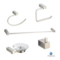 Fresca - Fresca Ottimo 5-Piece Bathroom Accessory Set - Brushed Nickel - Bring your powder room's decor together with the modern style of the Fresca Ottimo 5-Piece Bathroom Accessory Set in brushed nickel, part # FAC0400BN. Each minimalist piece features a barrel-shaped mounting, inset fittings and sleek curves that draw the eyes. These triple chrome-plated brass Fresca bathroom accessories complement any color scheme.