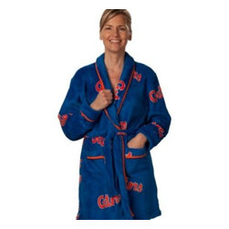 Emerson Street Div Of Abrasive Tool - University of Florida Ladies Fleece Robe - Get comfortable on pre-game mornings with this colorful University of Florida ladies fleece print robe. This great loungewear is made of 100% fleece and is super soft and super-comfy.