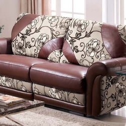Concetta Italian Leather and Microfiber Reclining Sofa - Combining the two best upholstery materials available today, the Concetta Sofa integrates soft premium microfiber with luxurious Italian leather to create a unique piece that you are sure to love for years to come.
