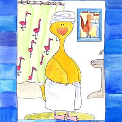 Oh How Cute Kids by Serena Bowman - Hot Shower, Ready To Hang Canvas Kid's Wall Decor, 11 X 14 - Because sometimes Rubber Ducky likes a hot shower.  Not there is anything wrong with that.   This is part of the my Rubber Ducky Series. I created this in hopes it would serve has reminders to my kids.  Make the bathroom a fun place and maybe just maybe the kiddies will actually go wash there hands and brush their teeth??  Here's to hoping!