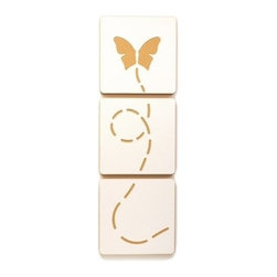 Sprout - 3 Art Tile Set, Butterfly Flying - Featuring fun and modern engraved designs, these art tiles add a fun accent to any room. Each tile is square and can be used with sprout frames for customized modular wall art. These art tiles are designed with the same environmentally responsible philosophy as the rest of the Sprout line. Easily mount to any wall with a screw, nail, or doubles sided tape.