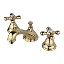 "Kingston Brass - Two Handle 8"" to 16"" Widespread Lavatory Faucet with Brass Pop-up KS5562AX - Two Handle Deck Mount, 3 Hole Sink Application, 8"" to 16"" Widespread, Fabricated from solid brass material for durability and reliability, Premium color finish resists tarnishing and corrosion, 1/4 turn On/Off water control mechanism, 1/2"" IPS male threaded shank inlets, Ceramic disc cartridge, 2.2 GPM (8.3 LPM) Max at 60 PSI, Integrated removable aerator, 4-3/4"" spout reach from faucet body, 3-3/8"" overall height.. Manufacturer: Kingston Brass. Model: KS5562AX. UPC: 663370071157. Product Name: Kingston Brass Royale Two Handle 8"" to 16"" Widespread Lavatory Faucet with Brass Pop-up. Collection / Series: Royale. Finish: Polished Brass. Theme: Classic. Material: Brass. Type: Faucet. Features: Drip-free ceramic cartridge system"