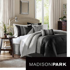 Madison Park - Madison Park Infinity 7-piece Comforter Set - If you're looking for a simple, elegant finish to your bedroom or guest room, this black and gray seven-piece comforter set with three decorative pillows is ideal. This set is finished with charming pin tucked detail and will compliment any bedroom decor.