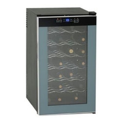 """Avanti - Wine Cooler 28 Bottle - Avanti SWC2801 - Features 28 bottle capacity single zone wine chiller.  Unique state-of-the-art super conductor technology for cooling. Whisper quiet operation.  Black cabinet with platinum trim glass door.  Integrated soft touch control panel with LED display.  Full range temperature control with F/C setting.  Long life and cool interior LED lighting with on/off switch.  Adjustable / removable chrome shelves.  Auto defrost system.  Unit dimensions 29.25"""" H x 17"""" W x 20.75"""" D,"""