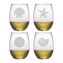 Susquehanna Glass - Seashore Stemless Wine Glass, 21oz, S/4 - Each 21 ounce stemless tumbler features a different sand etched emblem of the sea, including a fan shell, star fish, sand dollar and nautilus shell. Dishwasher safe. Sold as a set of four. Made and decorated in the USA.