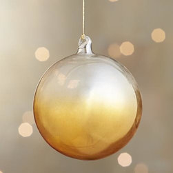 Yellow Global Dip Dyed Ball Ornament - Translucent glass orbs and teardrops are hand-dipped in jewel tones for an ethereal, luxe look.