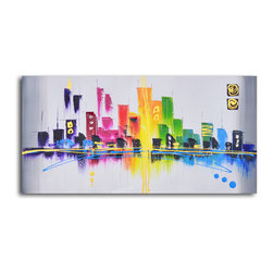 Rainbow city scape Hand Painted Oil Painting - Peace, love and pizazz. This original painting captures the ephemerality and attitude of a cityscape with a rainbow of colors and strong vertical and horizontal balance. It will lighten the mood in your modern loft.