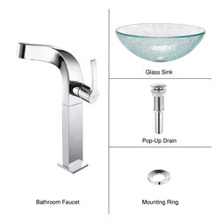 Kraus - Kraus C-GV-500-12mm-15100CH Broken Glass Vessel Sink and Typhon Faucet - Add a touch of elegance to your bathroom with a glass sink combo from Kraus