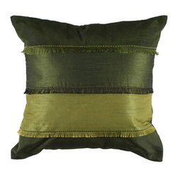 Silver Nest - Olive Down Pillow - Poly Slub Fabric. Piecing, Fringe and Embroidered Details. Pillow Cover with Hidden Zipper. Includes Down Pillow insert. Priced individually, must be sold in set of 2.