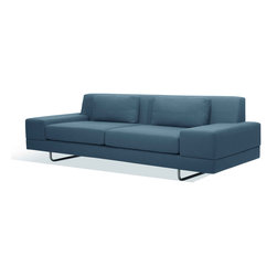 True Modern - Hamlin Standard Sofa, Sea Blue - Go for a sleek and sophisticated look in your minimalist living room. You can choose from six colors and then kick back and relax. Two pillows support your back while the wide art rests give you plenty of space to rest a drink or snack - on a coaster, of course!
