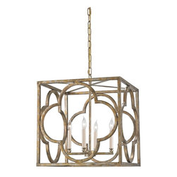 Currey & Company - Currey & Company Cosette Lantern CC-9360 - The Cosette Lantern showcases a lustrous Peppercorn Gold finish on wrought iron framework. A simple silhouette is elevated by a lovely clover detail and authentic gold detailing, the Cosette is a distinctive and elegant choice.