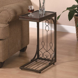 None - Brown Tray Top Snack End Table - Stylish and functional,this end table has a casual,relaxing feel to decorate your living space. Featuring scroll design and tray top,this table instantly warms any room with its rich brown and burnished copper finish.