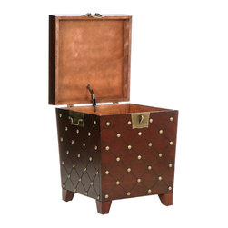 Holly & Martin - Holly & Martin Caldwell Trunk End Table in Es - Lid opens for lots of storage. Antique gold hardware. Made from pine veneer, MDF with metal hardware. Espresso stain finish. Inside storage: 35 in. W x 17 in. D x 12 in. H. Overall: 20 in. W x 20 in. D x 23.5 in. H (48 lbs.). Assembly InstructionsWith a deep espresso finish and antique gold nail heads this trunk has a worldly appeal. Each nail head is placed at the intersections of the grooved diamond pattern lines that wrap around the body of the trunk. The lid lifts to reveal an extra large storage area that is ideal for pillows, blankets and other household necessities. Durable metal hardware finishes the piece with handles and a decorative padlock latch.